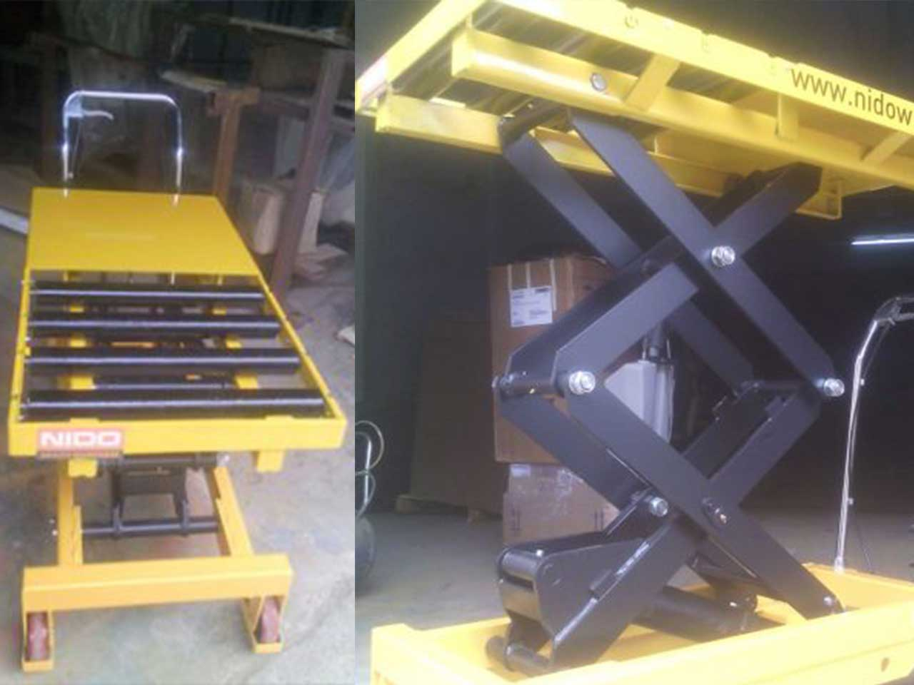 Scissor Lift Table Truck With Roller Platform