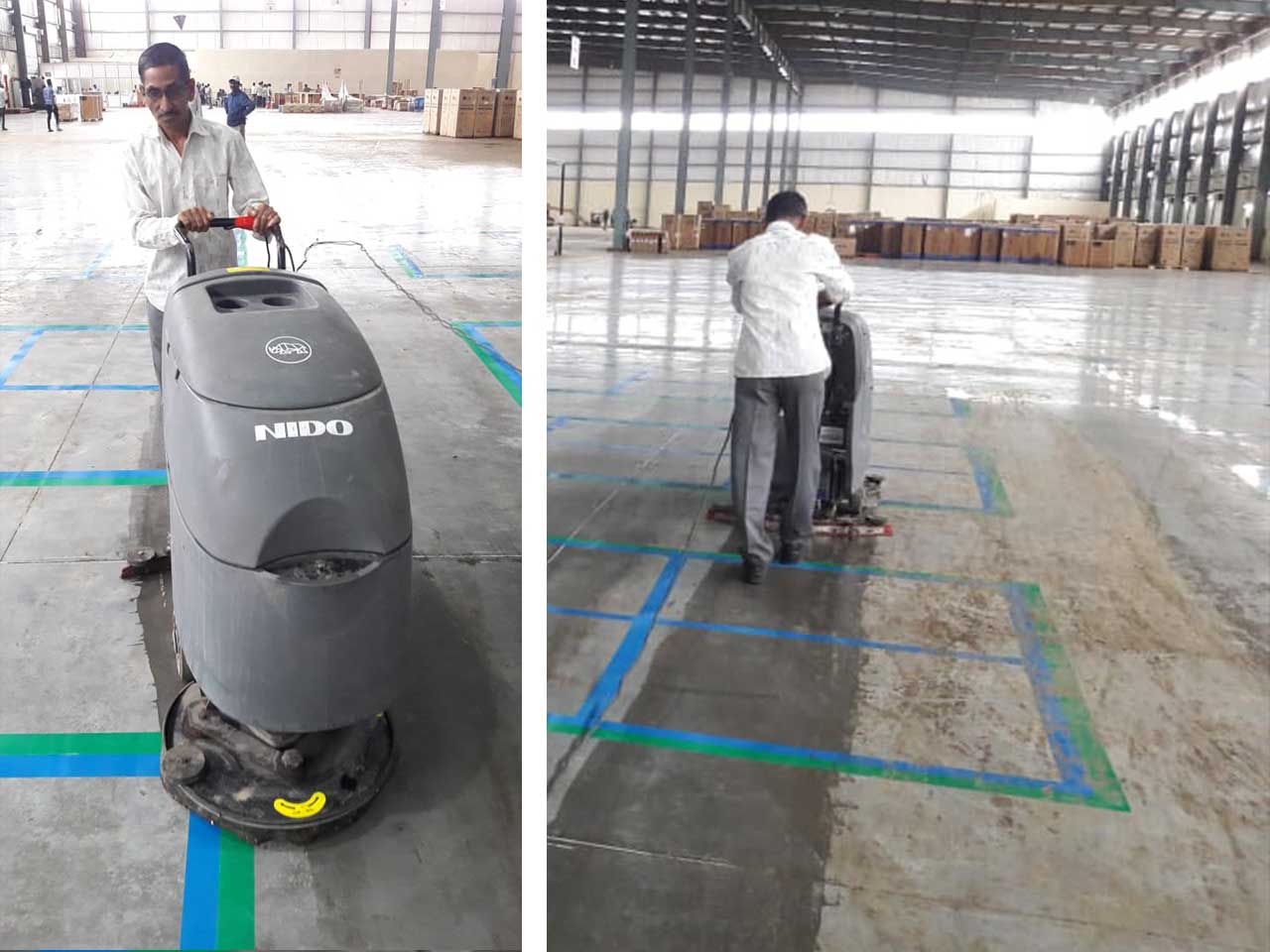 Walk-Behind - Battery Sweeper with Collector- Industrial Cleaning at Warehouse