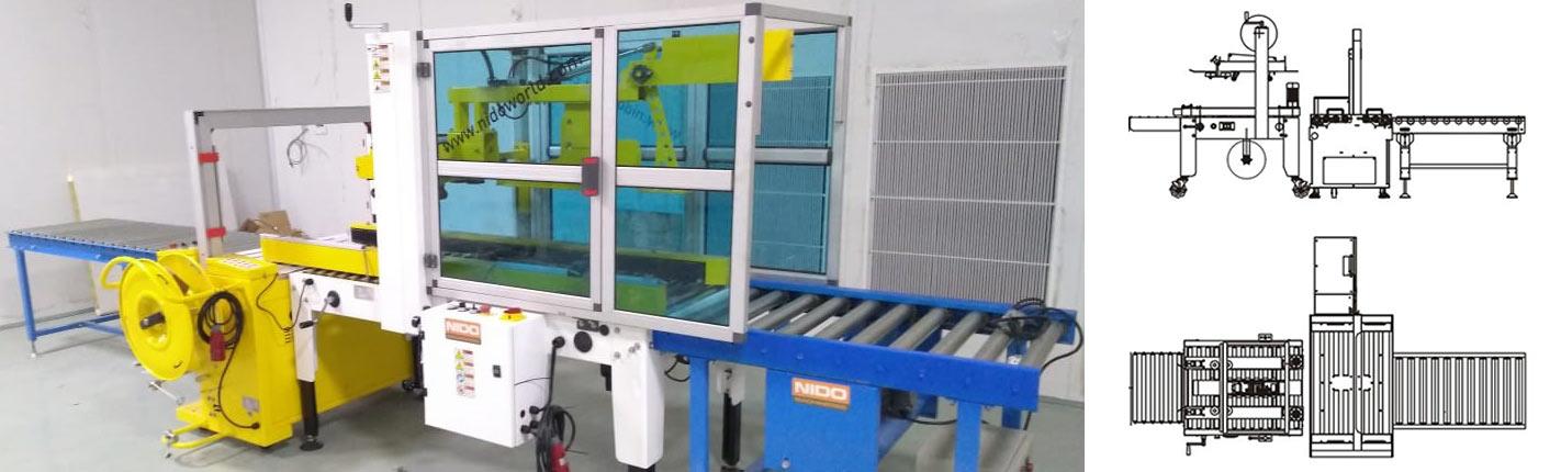 Carton Sealing + Strapping Line