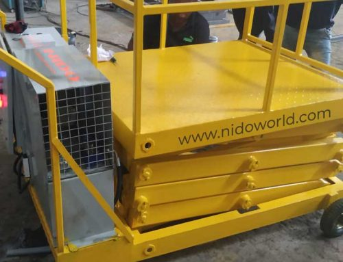 Customized Mobile Scissor Lift designed for a textile company