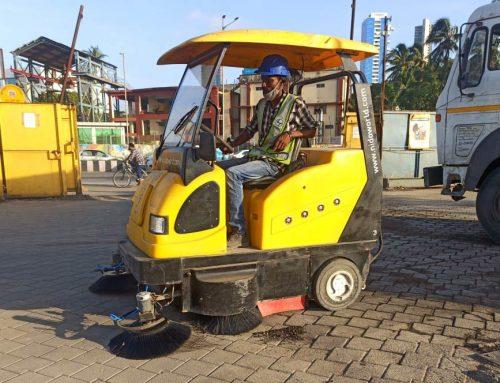 Nido Battery Sweeper Cleaning Roads at Mumbai Coastal Road Project
